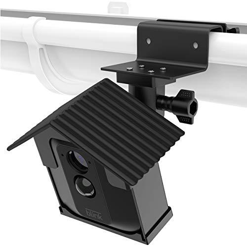 Koroao Weatherproof Housing Gutter Mount for Blink XT Blink XT2 - Sunscreen and Rustproof Outdoor Holder with Wider Perspective(1-Pack,Black)
