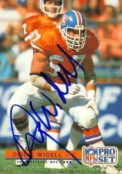 Autographed Broncos Football Denver Pro (Doug Widell autographed Football Card (Denver Broncos) 1992 Pro Set #161 - NFL Autographed Football Cards)