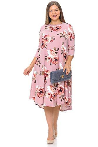 (Pastel by Vivienne Women's Swing Midi Dress Plus Size XX-Large Floral Blush Rosy)