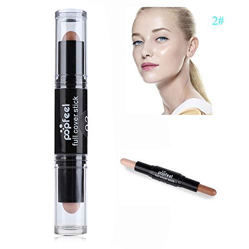 Women Makeup Concealer Double-Ended 2 In1 Contour Stick Contouring Highlighter Bronzer Palette 3D Face Makeup Concealer 2