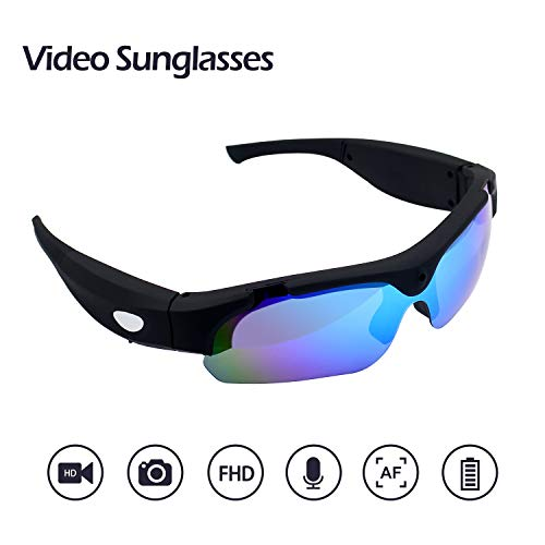 - KAMRE Video Sunglasses, 1080P Video Recorder Camera with UV Protection Polarized Color Lens, Unisex Sport Design, A