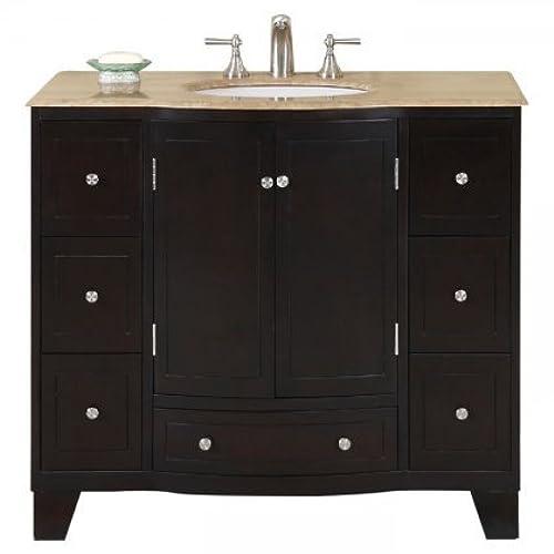 40 In. Naomi Single Sink Bathroom Vanity In Expresso (White Sink)