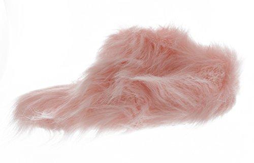 Ellen Tracy Womens Super Zachte Namaakbont Muilezel Slippers Roze