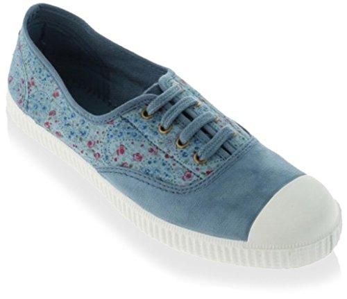 Victoria Womens Inglese Elastico Tinto Stampa Su Tela Allacciata Sneaker Blu