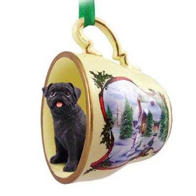 (Black Pug in Holiday Scene Teacup Christmas Ornament)