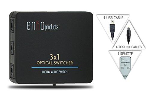 enKo 3x1 SPDIF / Toslink Digital Optical Audio Splitter S...