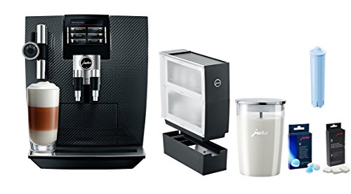 Jura J95 Carbon One Touch TFT Coffee & Beverage Center With Additional Bonus Cup Warmer, Glass Milk Container, Descaling Tablets, Cleaning Tablets, Clearyl Filter