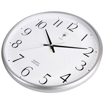 TNKML Large Indoor Decorative Wall Clock 15-Inch Country Mute Classic Living Room Kitchen Perpetual Calendar Creative Clock Quartz Clock Wall Clock, 6815 Silver