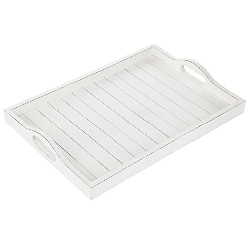 MyGift 16.5-Inch Vintage Whitewash Wood Serving Tray with Cutout Handles