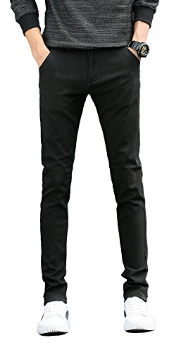 Plaid&Plain Men's Skinny Stretchy Khaki Pants Colored Pants Slim Fit Slacks Tapered Trousers 819 Black 32X28