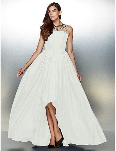 Ivory Asimétrica De HY Formal Joya Línea Crystal Una Detallando amp;OB Noche Con Vestido Cuello Prom De De Tafetán XXHqfT4wx