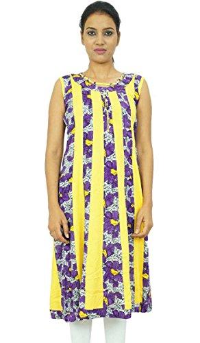 Étnico de largo Kurti Rayón Kurta Las mujeres llevan impreso floral india Ropa Púrpura