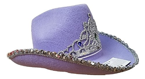 b2588c67 Cowgirl Rodeo Queen Cowboy Hat Silver Sequin Tiara Adult Costume Accessory