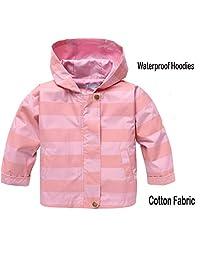 Goodfans Bady Girls Waterproof Hooded Raincoat Lightweight Outwear Jacket