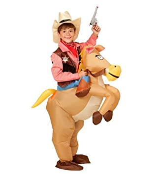 Disfraz a hombros hinchable, vaquero del oeste con caballo: Amazon ...