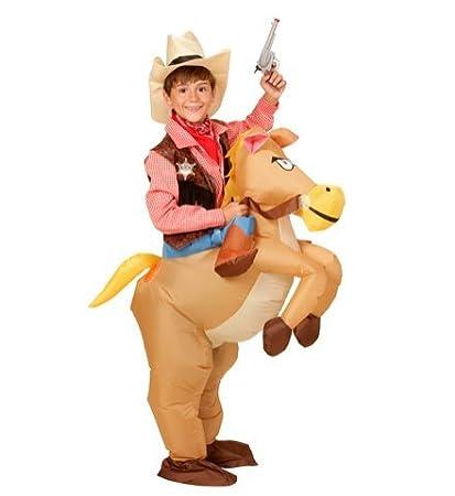 Disfraz a hombros hinchable, vaquero del oeste con caballo ...