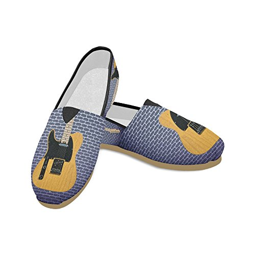 D-story Mode Sneakers Lägenheter Kvinna Klassisk Slip-on Canvas Skor Loafers Gitarr