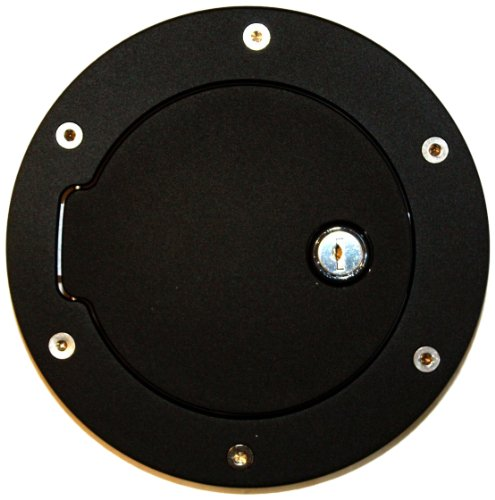 AMI 6047KL Race Style Billet Fuel Door 6 1/2'' Ring O.D. 4 1/2'' Door O.D.-Flat Black Ring and Locking Door, 1 Pack
