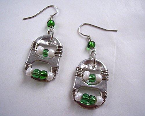 - Pop Tab Earrings Green and White