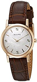 Bulova Women's Rose Goldtone Case and Brown Leather Strap Watch