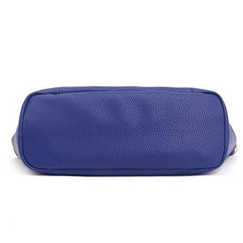 Women Ladies Medium Designer Inspired Faux Leather Pouch Shoulder Handbag blue