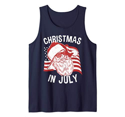 - Christmas In July Shirt   Retro Hipster Santa 4th of July Tank Top