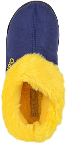 Ladies / Womens Slip On Slippers / Booties / Indoor Shoes with Warm Faux Fur Inners Navy/Yellow tSvuOC2N