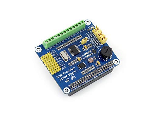 waveshare Raspberry Pi AD/DA Expansion Sheild Board for Adding High-Precision AD/DA Functions to Raspberry Pi Onboard ADS1256 DAC8552 Sensor Interface