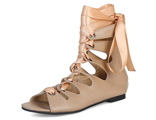 SHFANG shoes Lady Boots Summer Pu Boot Help Hollow Cross Strap Students Daily Shopping Three Colors Apricot EIFaVCSS