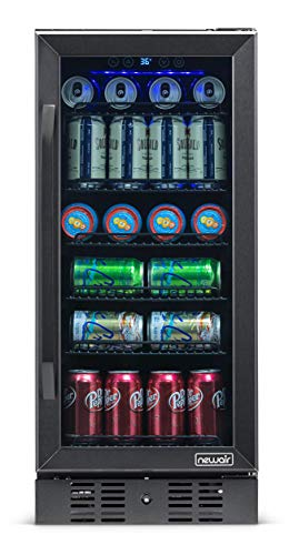 """NewAir 15"""" Built-in 96 Can Beverage Fridge with Precision Temperature Controls and Adjustable Shelves - Black Stainless Steel"""