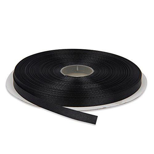 - Topenca Supplies 1/4 Inches x 50 Yards Double Face Solid Satin Ribbon Roll, Black