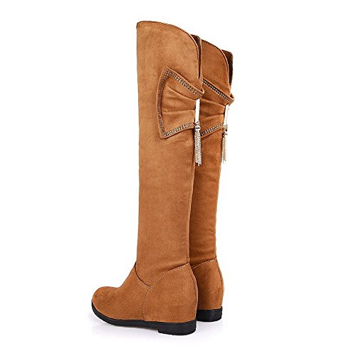 Inside Boots 5 Womens with Closed Toe Round US Frost Short 4 AmoonyFashion Yellow Heighten PU Hollow Plush and M B Out Solid 7qzCUpnwxd