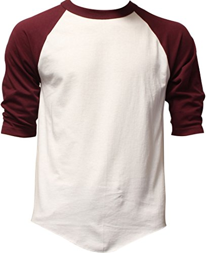 DealStock Casual Raglan Tee 3/4 Sleeve Tee Shirt Jersey White/Burgundy