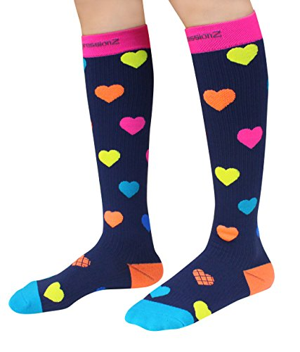 Compression Socks (Hearts S/ 20-30mmHg) Men & Women Fun Running Casual Socks