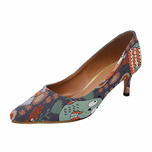 InterestPrint Womens Low Kitten Heel Pointed Toe Dress Pump Shoes Pattern With Owls and Flowers Multi 1