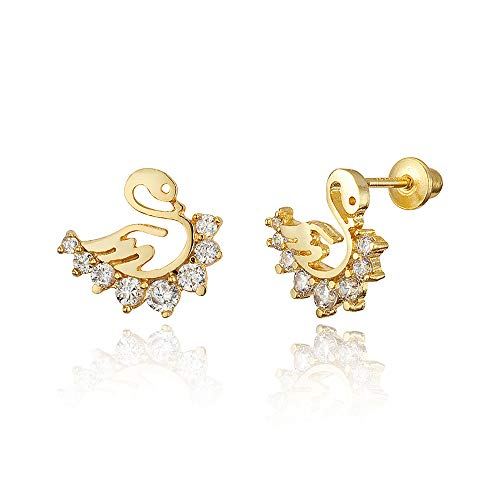 14k Gold Plated Brass Swan Cubic Zirconia Screwback Baby Girls Earrings with Sterling Silver Post ()