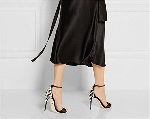 Heel cinturino di sandali Alti EU36 Stiletto Tacchi sandalo donna UK3 Decorazione di US5 metallo strass caviglia Sexy di 5 Pompe 5 CN35 nozze alla lusso qtFdwYY