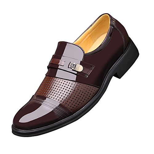 Oxfords Tuxedo Patent Brown Slip on Blivener Leather Dress Shoes Men's fZnqO7