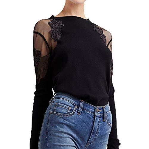 AOJIAN Blouse Women Long Sleeve T Shirt Round Neck Lace Patchwork Tunics Tees Tank Shirts Tops
