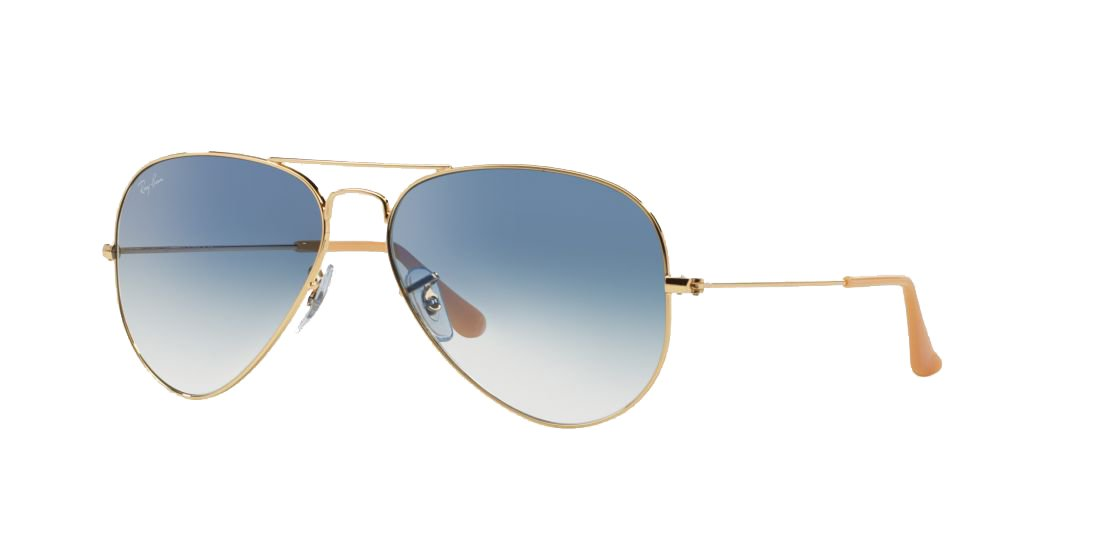 a66320d4e3836 Ray-Ban Aviator Unisex Sunglasses Gold Frame Light Blue Gradient Lenses.  58mm (standard size). UV Protection and Maximum Comfort. 100% Authentic.