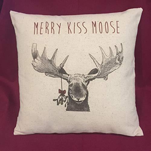 Merry Kiss Moose Christmas Pillow 15x15 Inch