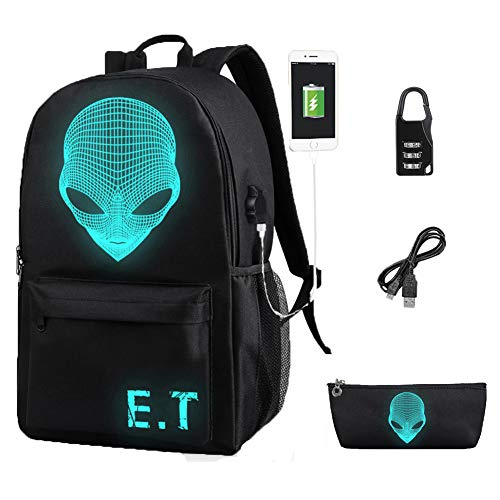 - Sqoto Unisex Anime Luminous Backpack Oxford Backpack, Fashion Shoulder Travel Daypack Laptop Backpack with USB Cable and Pencil Bag, Alien Backpack