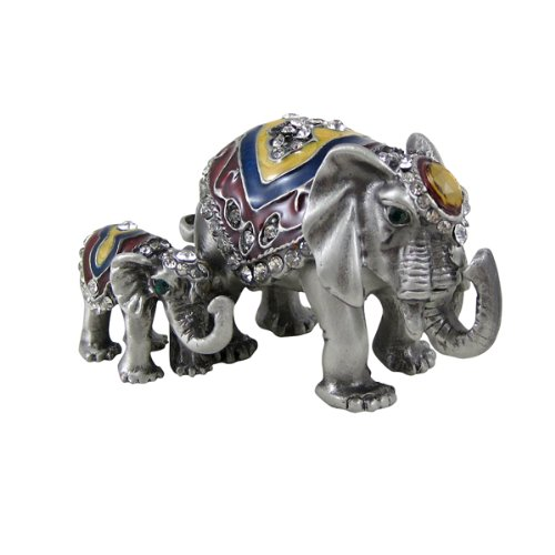 EchoMerx Collectible Mom and Baby Elephant at Precious Moments Figurine Trinket Box, Baby Shower Decoration Favors Centerpiece ()