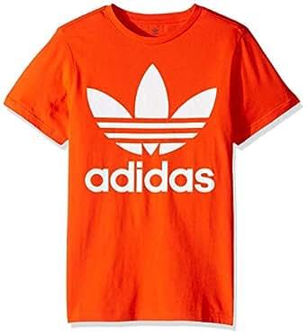 adidas Originals Boys' Big Trefoil Tee, Active Orange/White, X-Small