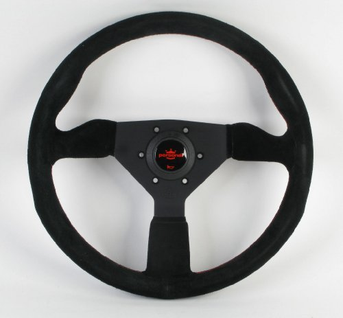 Personal Steering Wheel - Grinta - 350mm (13.78 inches) - Black Suede with Black Spokes and Red Stitching - Part # 6430.35.2094 (Steering Wheel Personal)