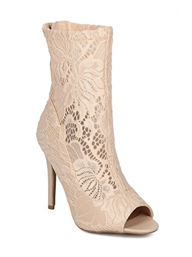 Lace Nude Toe Women Stiletto Peep Ankle Floral Media Alrisco Boot Mix HD18 4qfwEUw