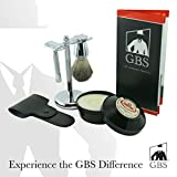 GBS Men's Wet Grooming Set with Italian Omega Shaving Cream, Butterfly Double Edge Razor with Etched Handle, Pure Badger Brush, Brush Stand +Leather Case + Blades Classic Vintage Set