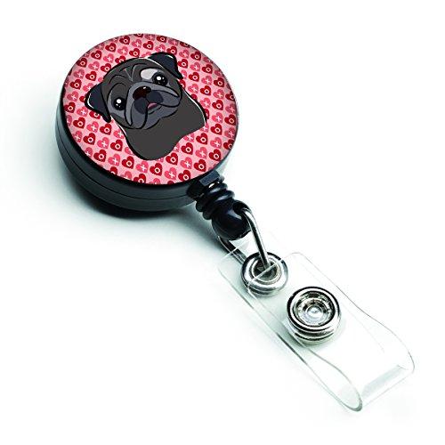 Caroline's Treasures Black Pug Hearts Retractable Badge Reel, Multicolor (BB5333BR)