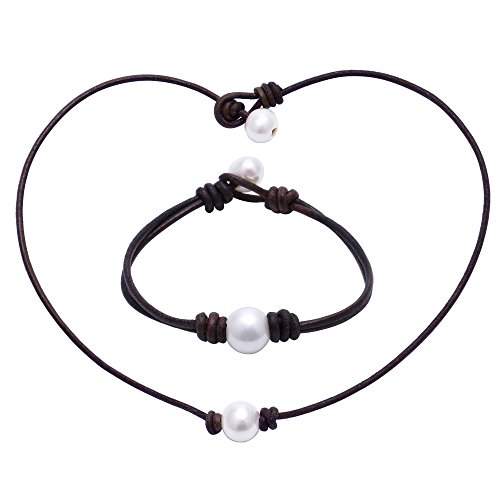 Aobei Single Cultured Freshwater White Pearl Leather Choker Necklace and Bracelet Jewelry Set for Women 16'' Brown