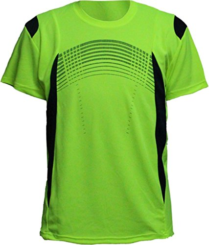 Men's Athletic Moisture-Wicking Quick Dry Contrast Crew T-Shirt Lime Shock - Dri Crew Fit S/s Shirt